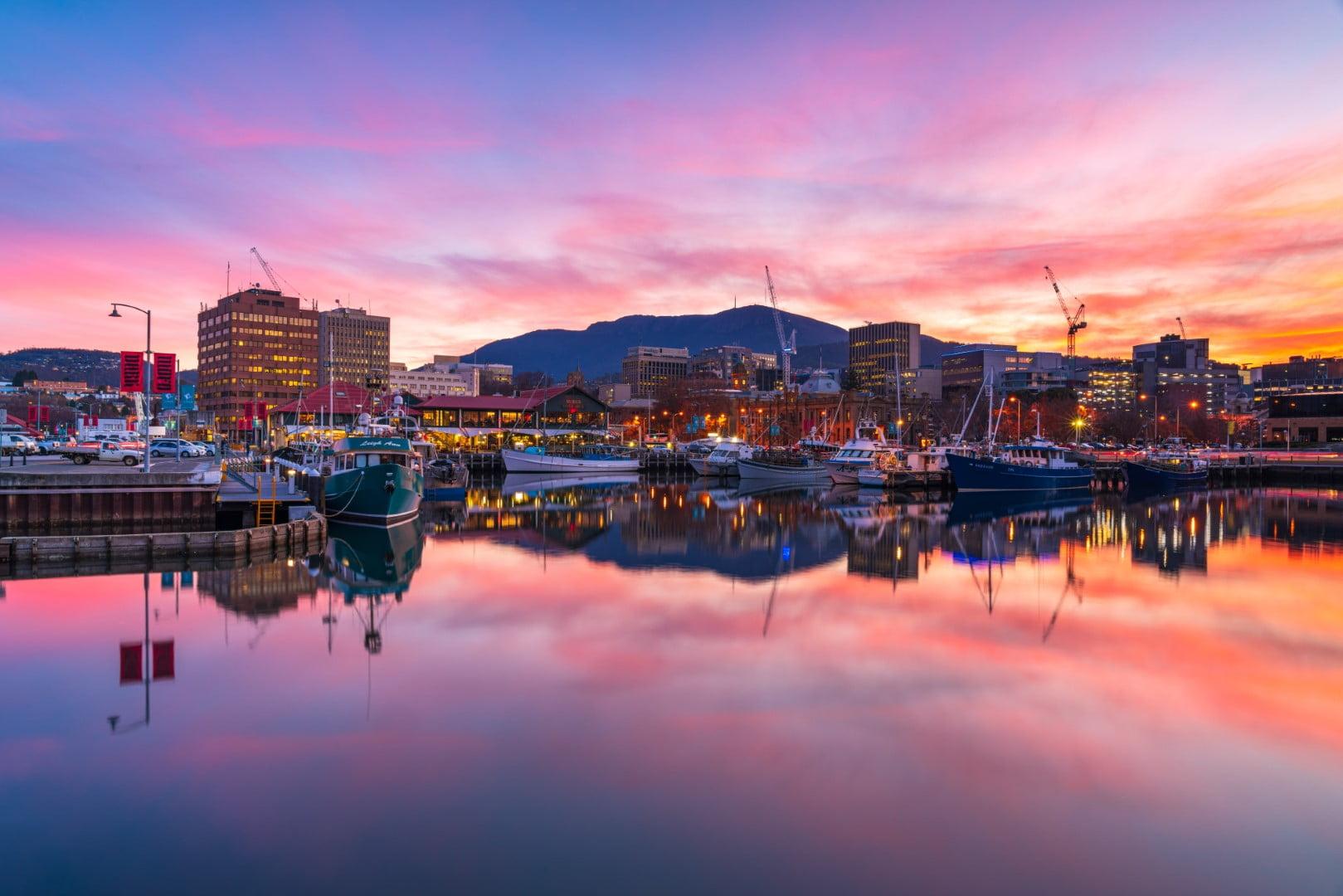 Hobart waterfront at sunset